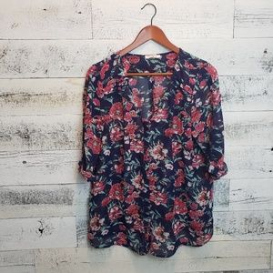 XL Skies are Blue Blouse- floral print